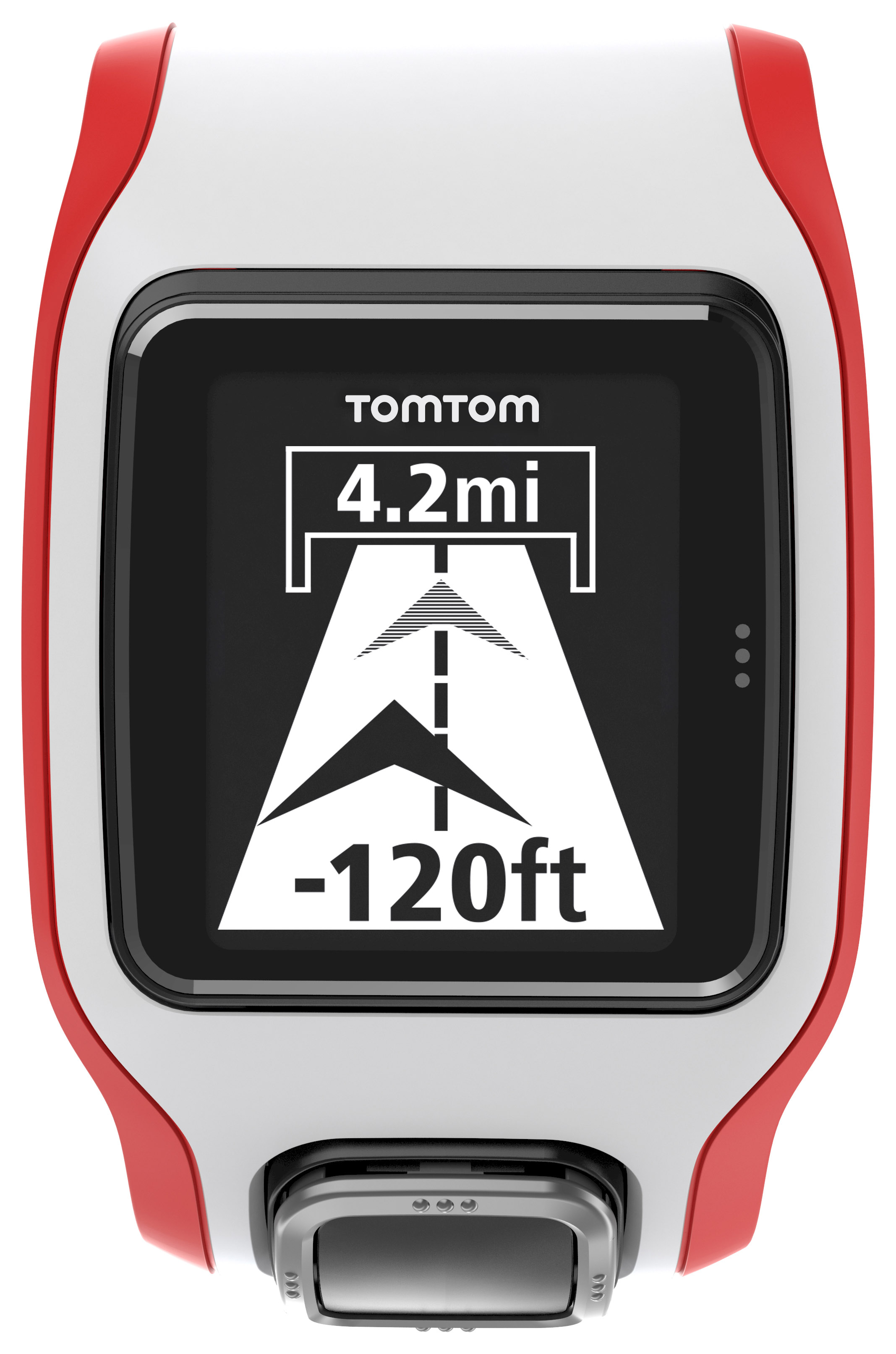 TomTom Multi Sport Cardio White Red with Extra Large Face & Metric Display