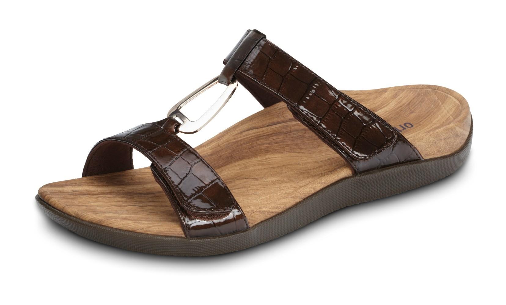 Orthaheel Layla II Slide Brandy Patent Crocodile Size 10 Online Discount