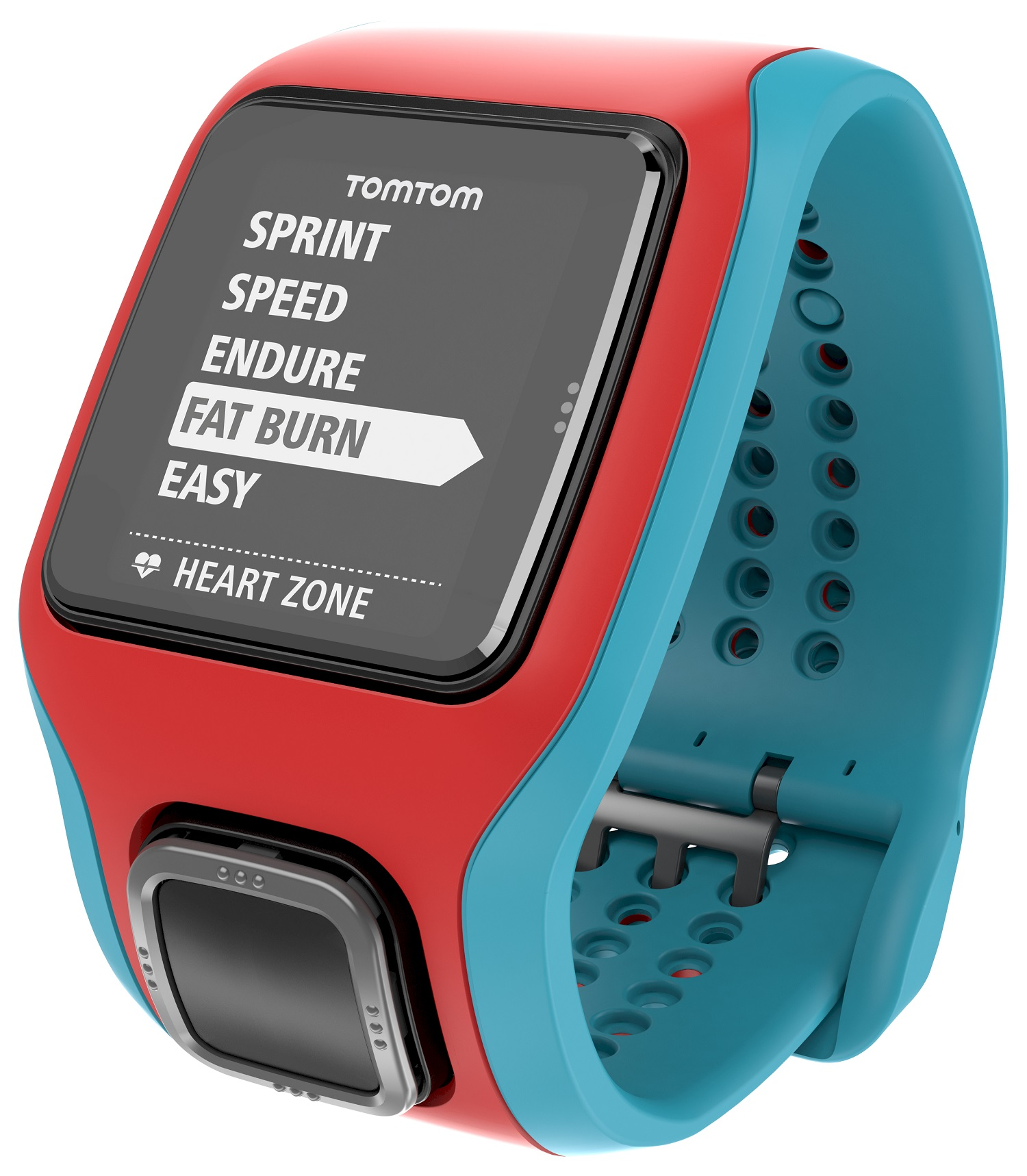 TomTom Runner Cardio GPS Watch Turquoise/Red With Extra Large Display