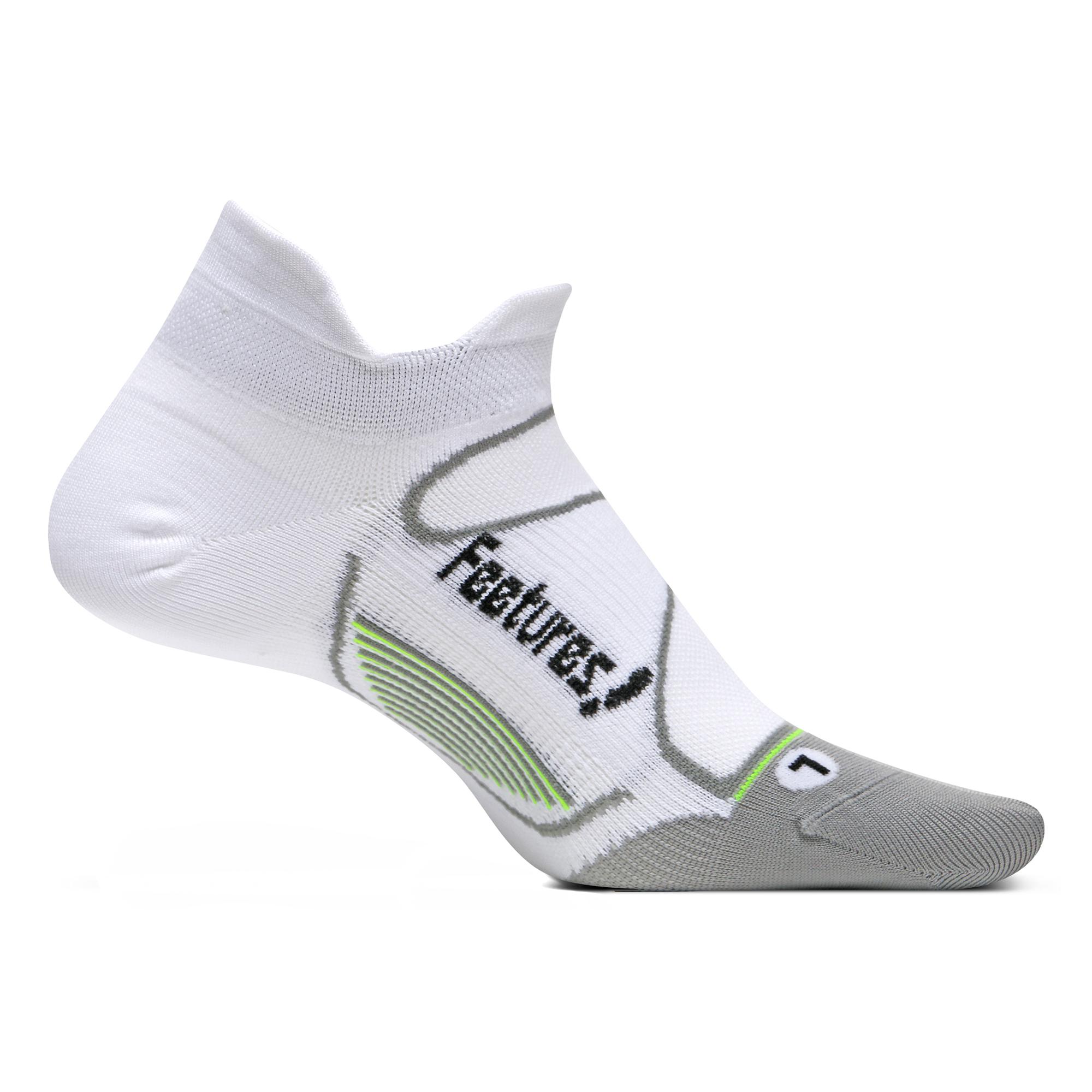 Feetures Elite Ultra Light No Show Tab White/Black Size Larg