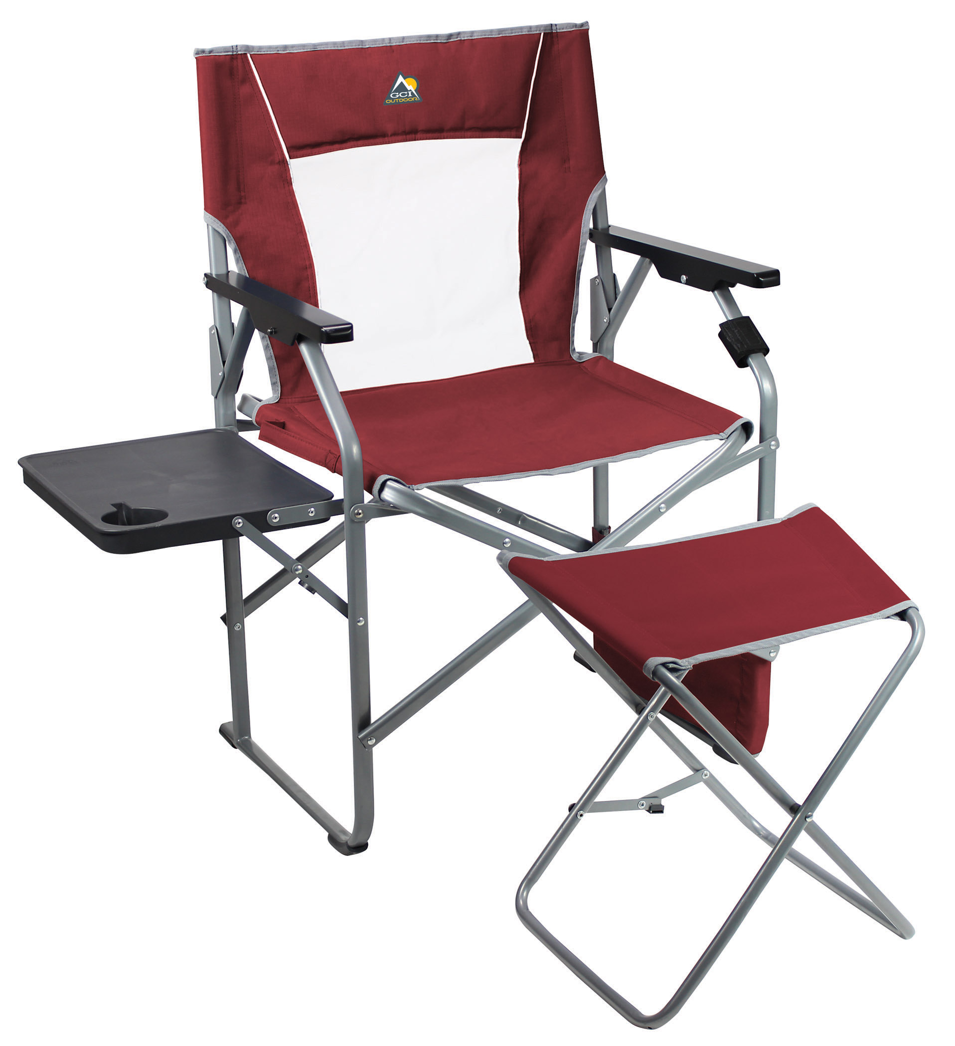 GCI Outdoors 3 Position Director s Chair with Ottoman Cinnamon Red