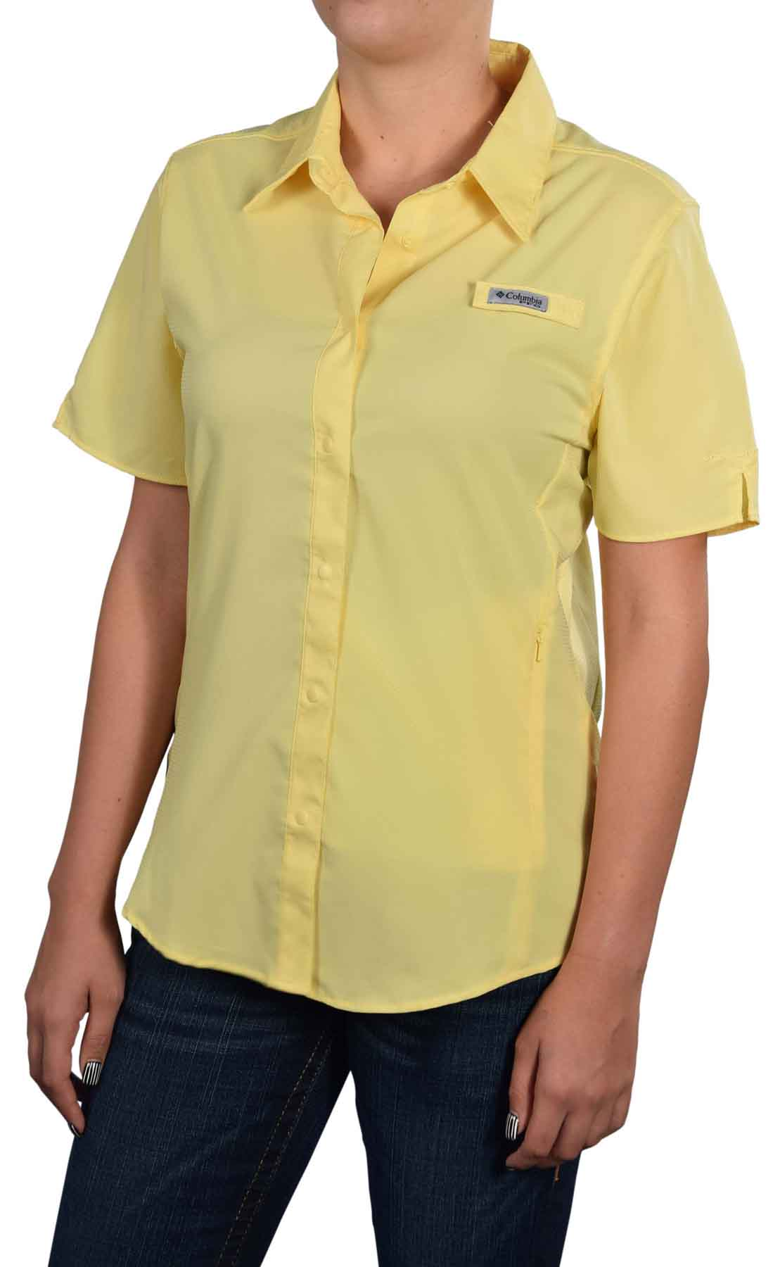 Columbia women 39 s crystal springs pfg short sleeve shirt ebay for Columbia shirts womens pfg