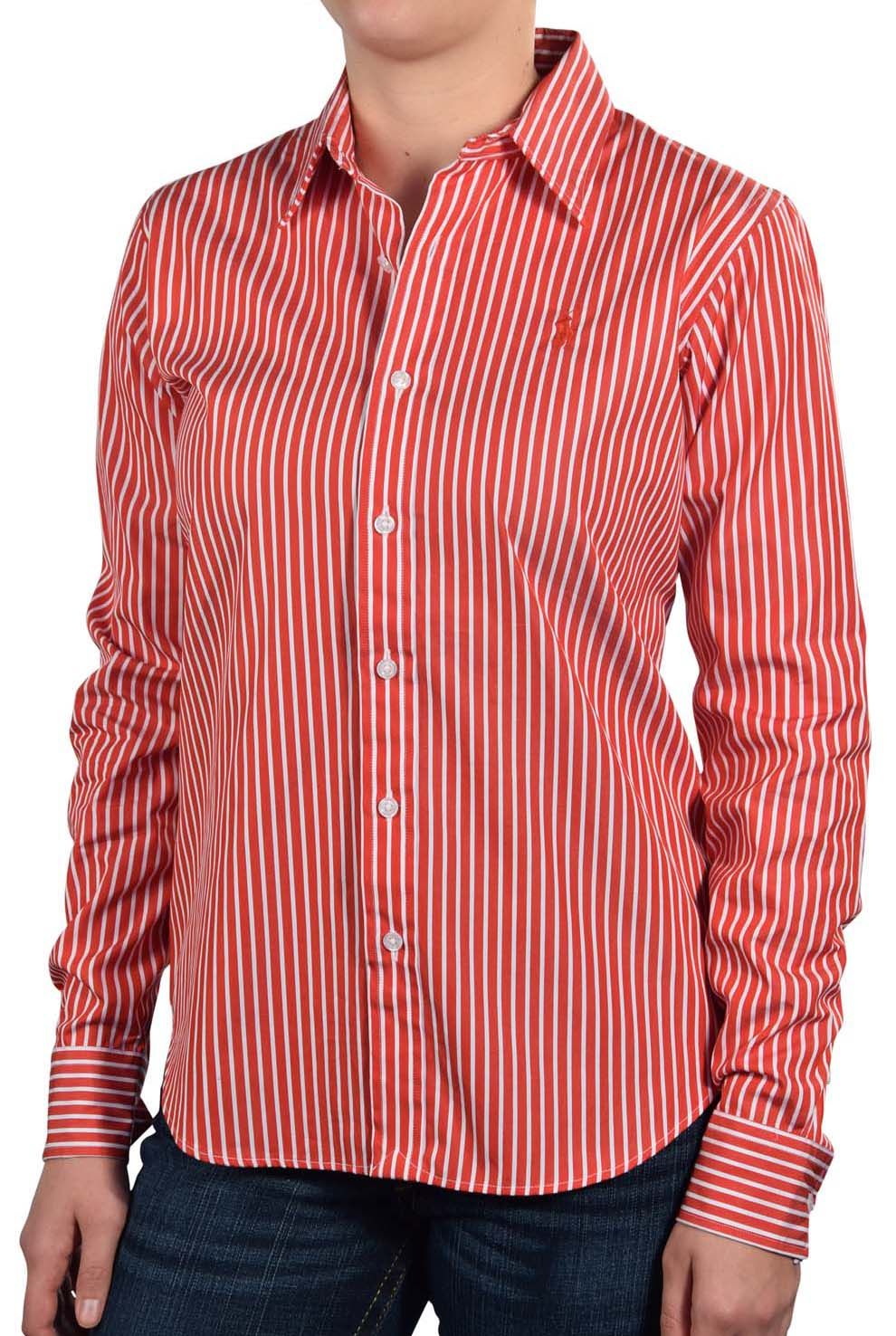 Polo ralph lauren women 39 s striped button down dress shirt for Women s button down dress shirts