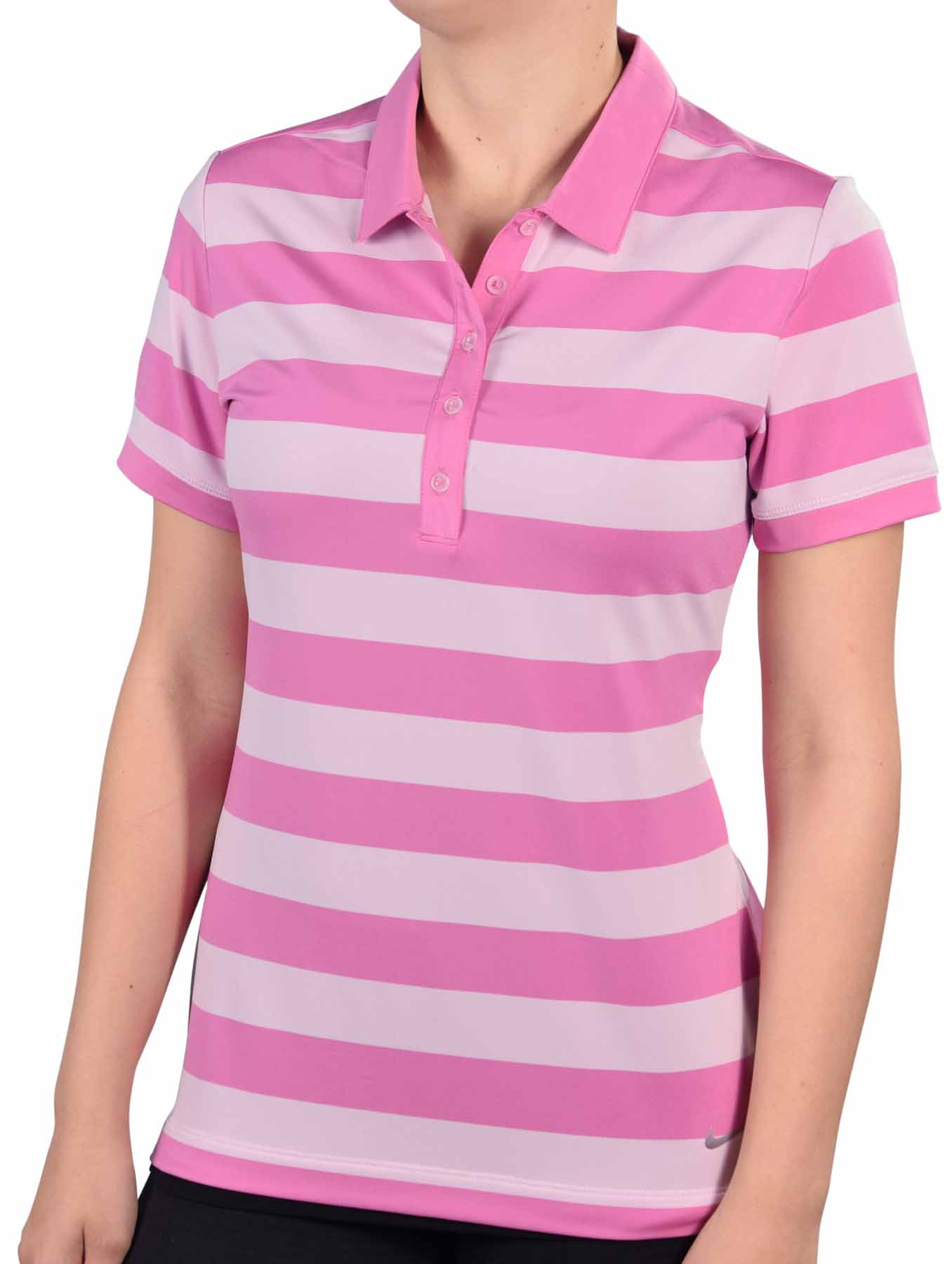Nike women 39 s dri fit bold stripe golf polo shirt for Women s dri fit golf shirts