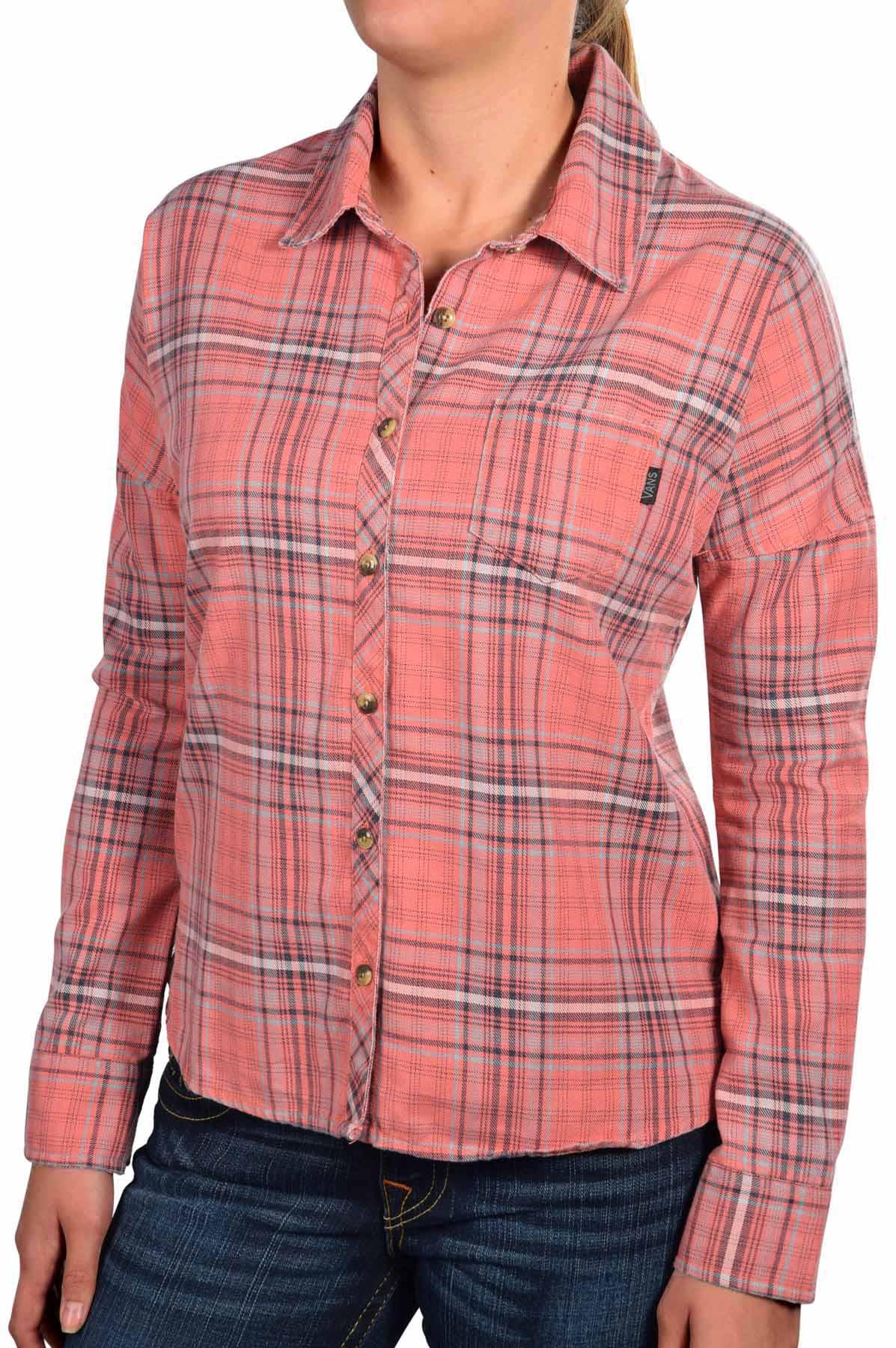 Vans women 39 s pledge plaid long sleeve button down shirt for Women s plaid button down shirts