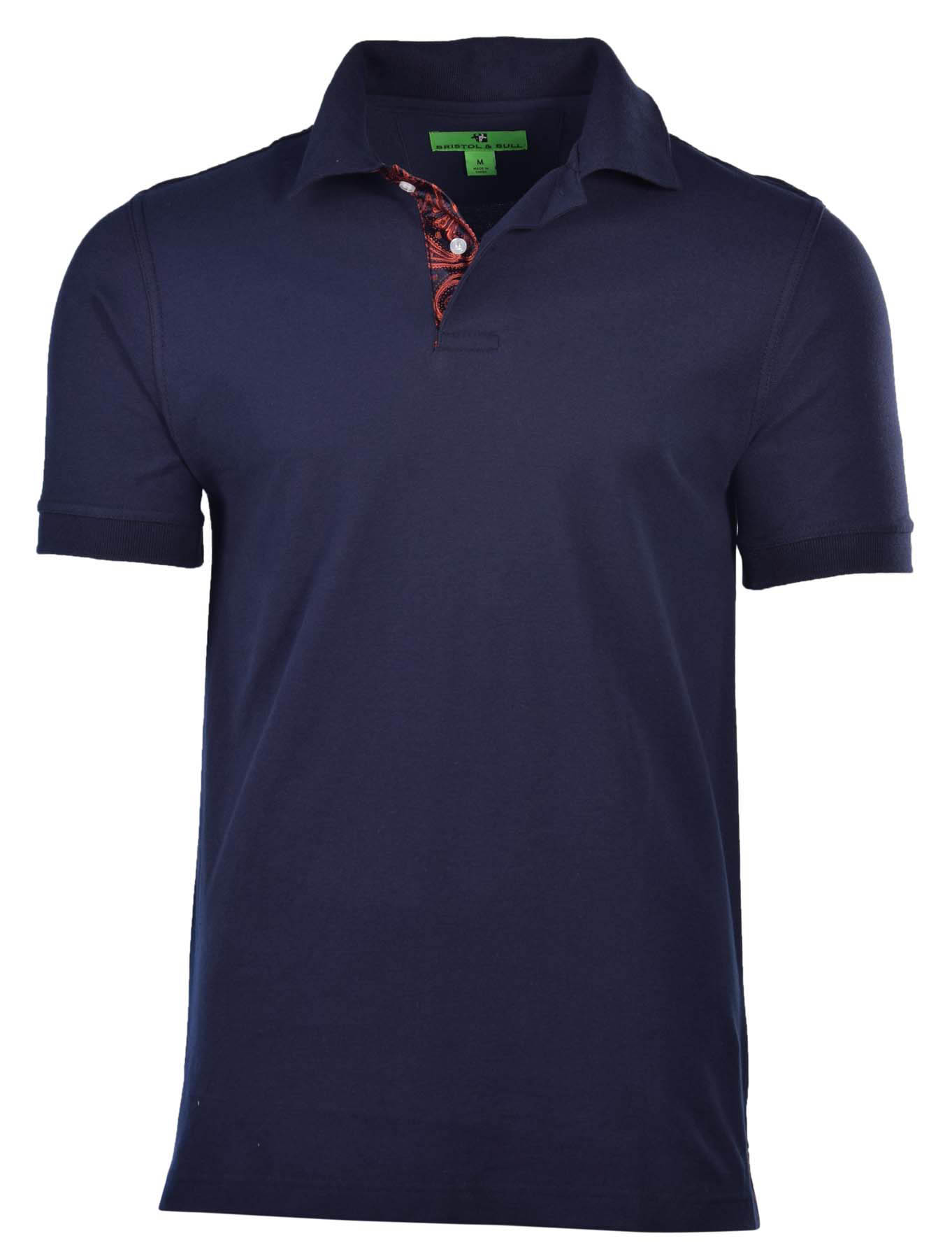 bristol bull men 39 s contrast placket pique polo shirt ebay
