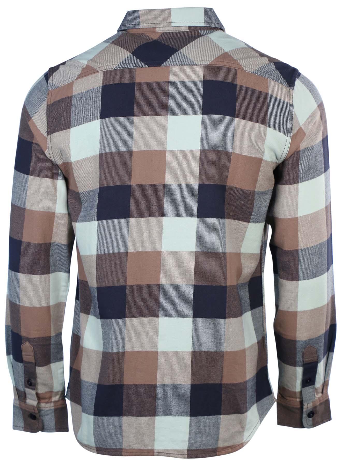 Vans men 39 s long sleeve box flannel plaid shirt ebay for Long plaid flannel shirt