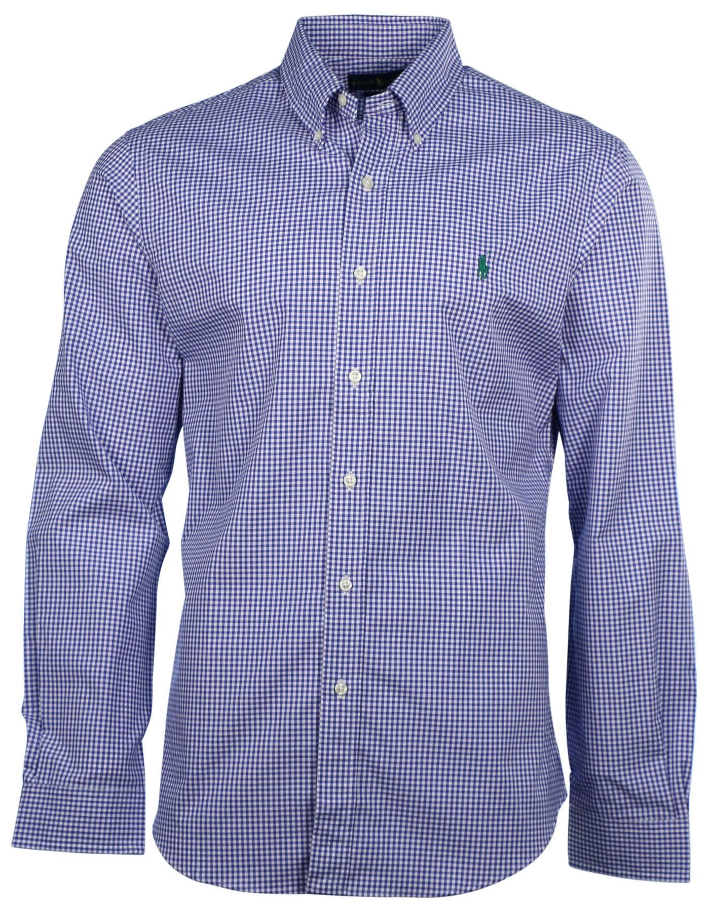 Polo ralph lauren men 39 s slim fit gingham button down shirt for Mens slim polo shirts