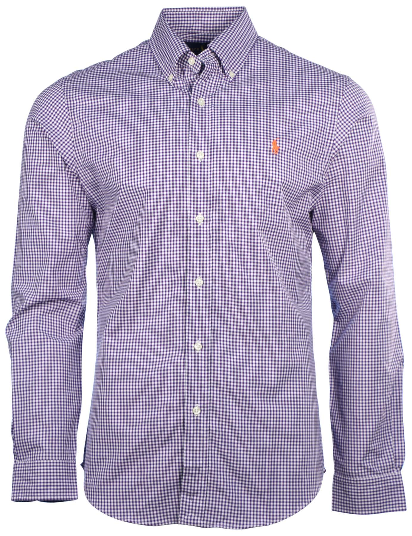 Polo ralph lauren men 39 s slim fit gingham button down shirt for Athletic fit button down shirts