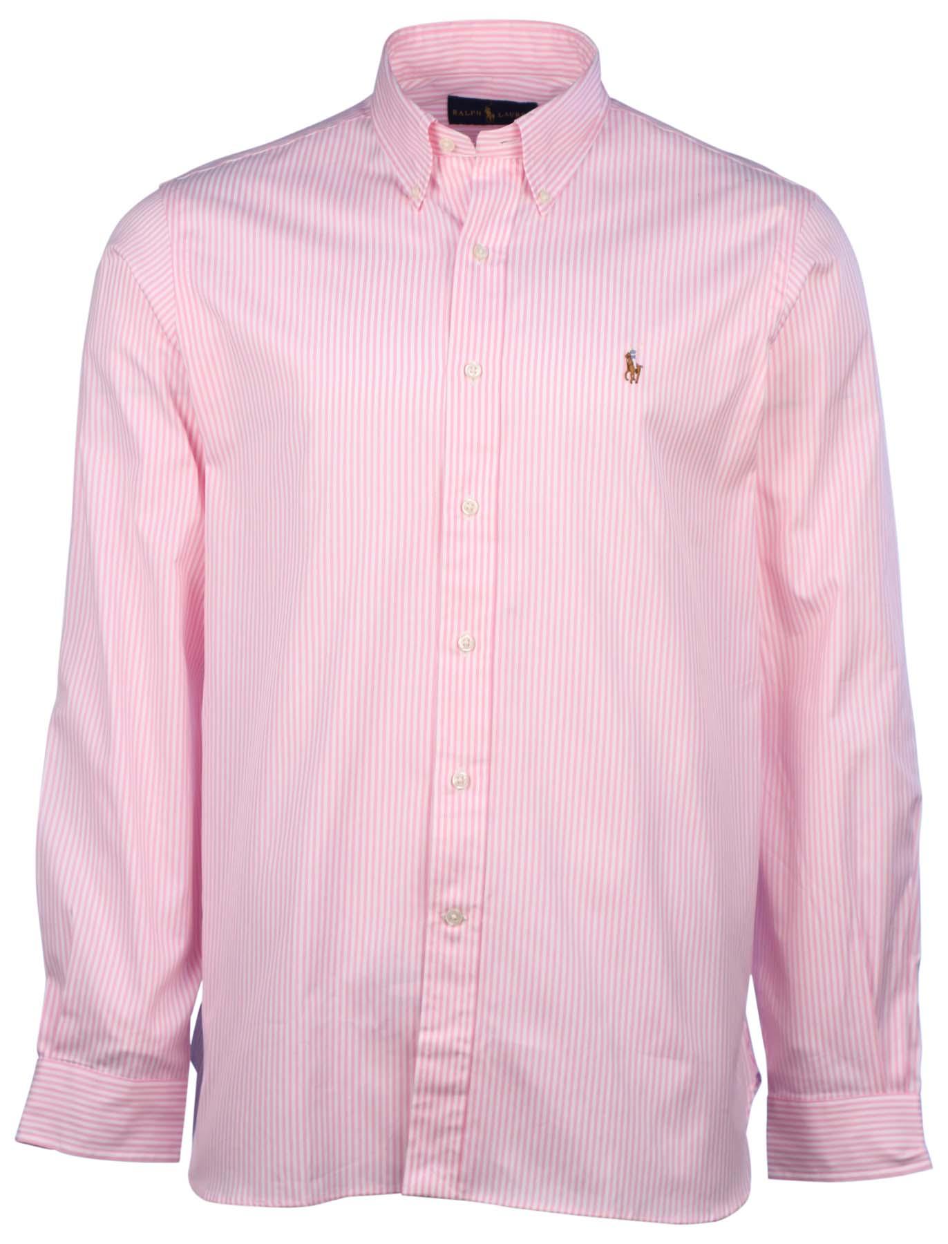 Polo ralph lauren men 39 s vertical stripe button down shirt for Pink and white ralph lauren shirt