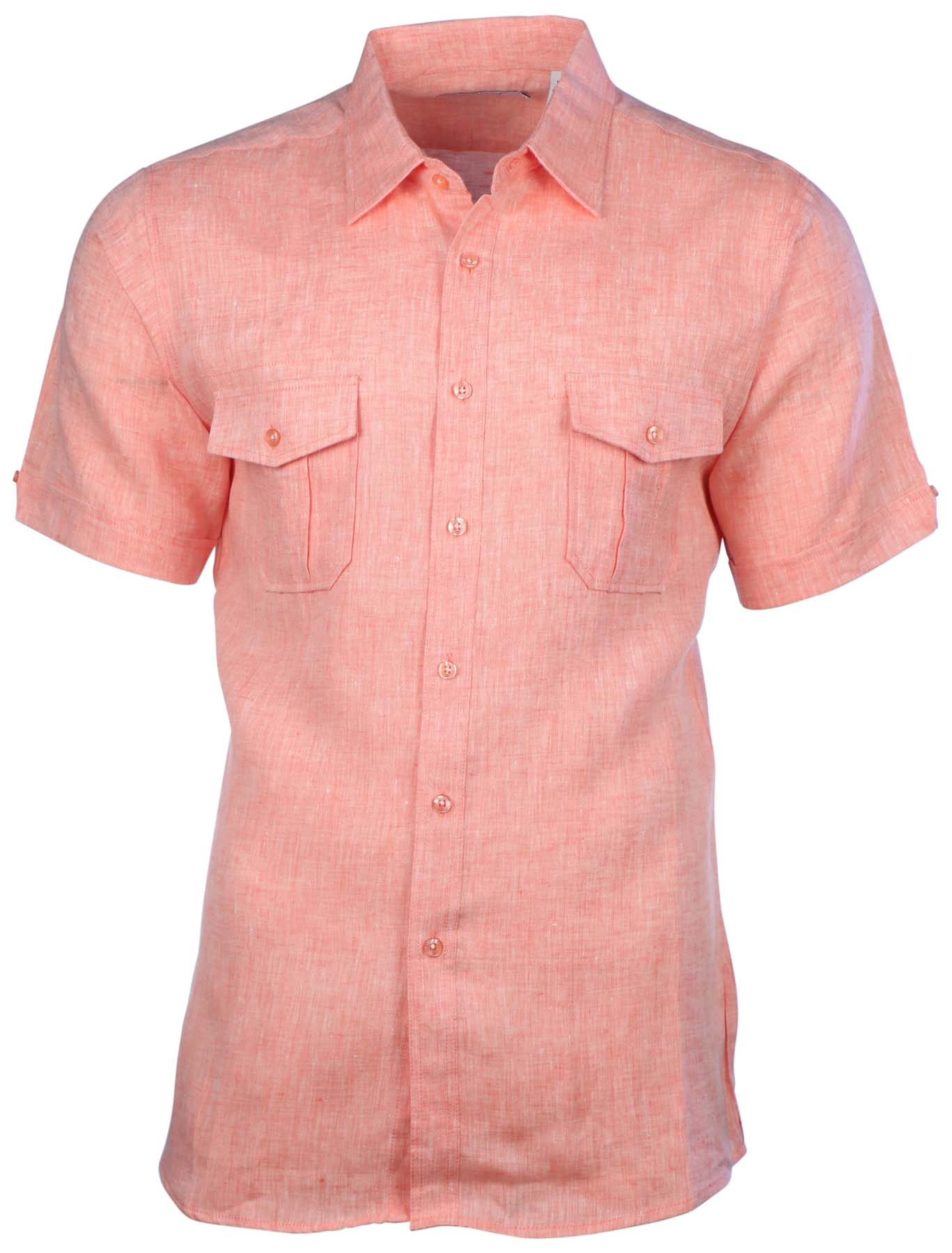 Mojito collection men 39 s linen 2 pocket short sleeve button for Mens double pocket short sleeve shirts