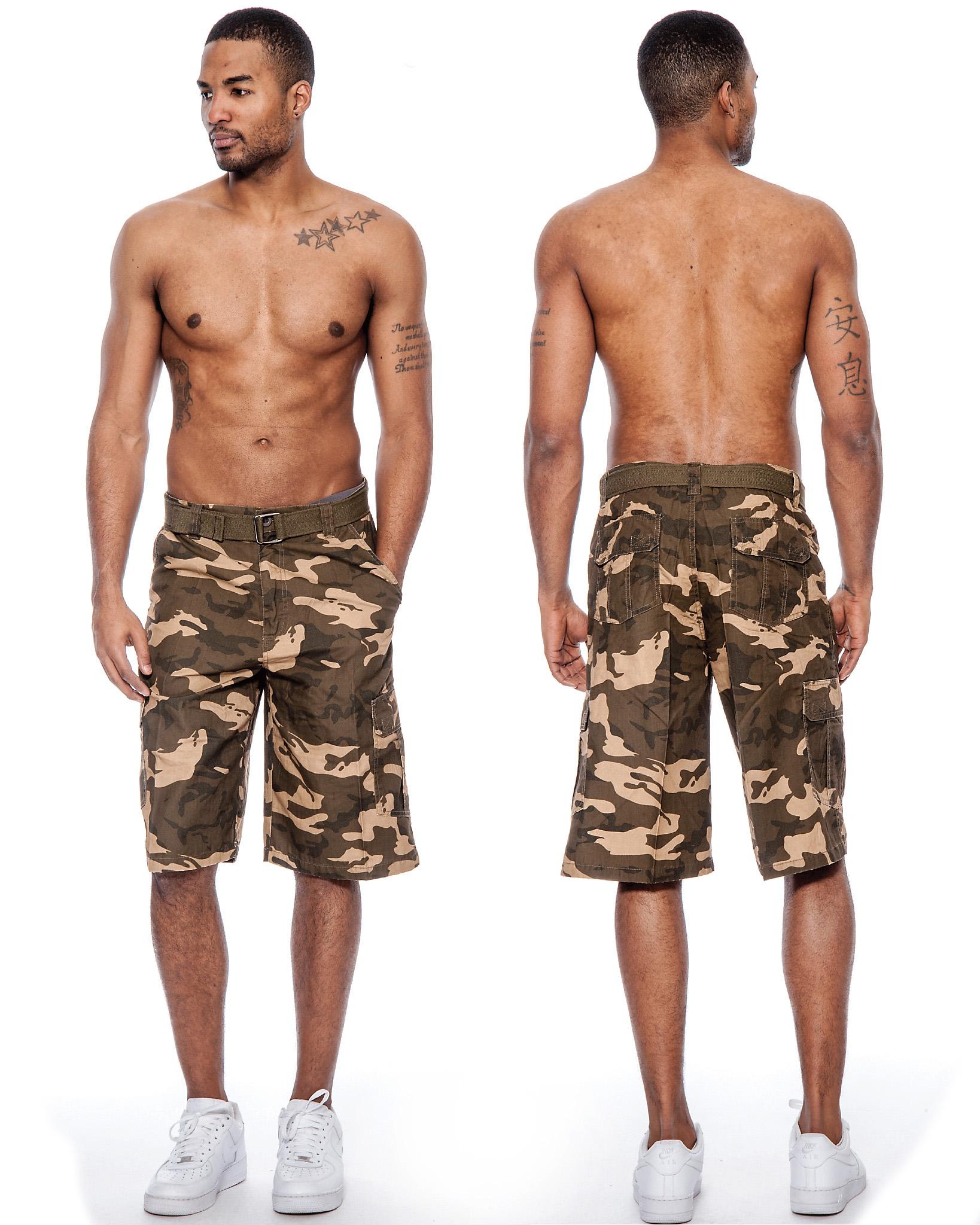 True Rock Men's Camouflage CAMO Belted Cargo Shorts | eBay