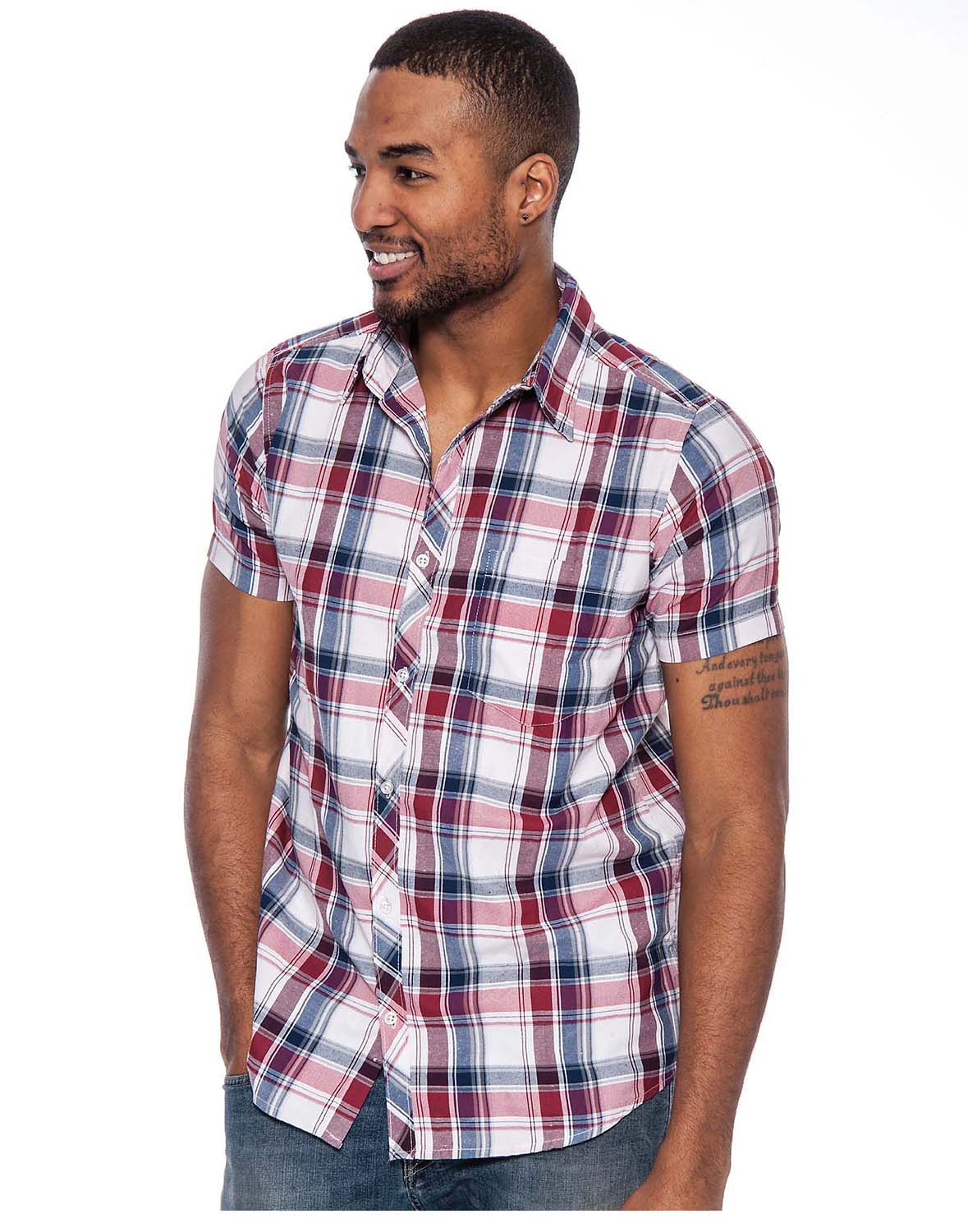 True rock men 39 s george plaid short sleeve button down Short sleeve plaid shirts