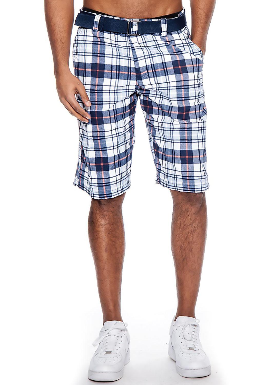 True Rock Men's Casual Plaid Belted Walk Shorts