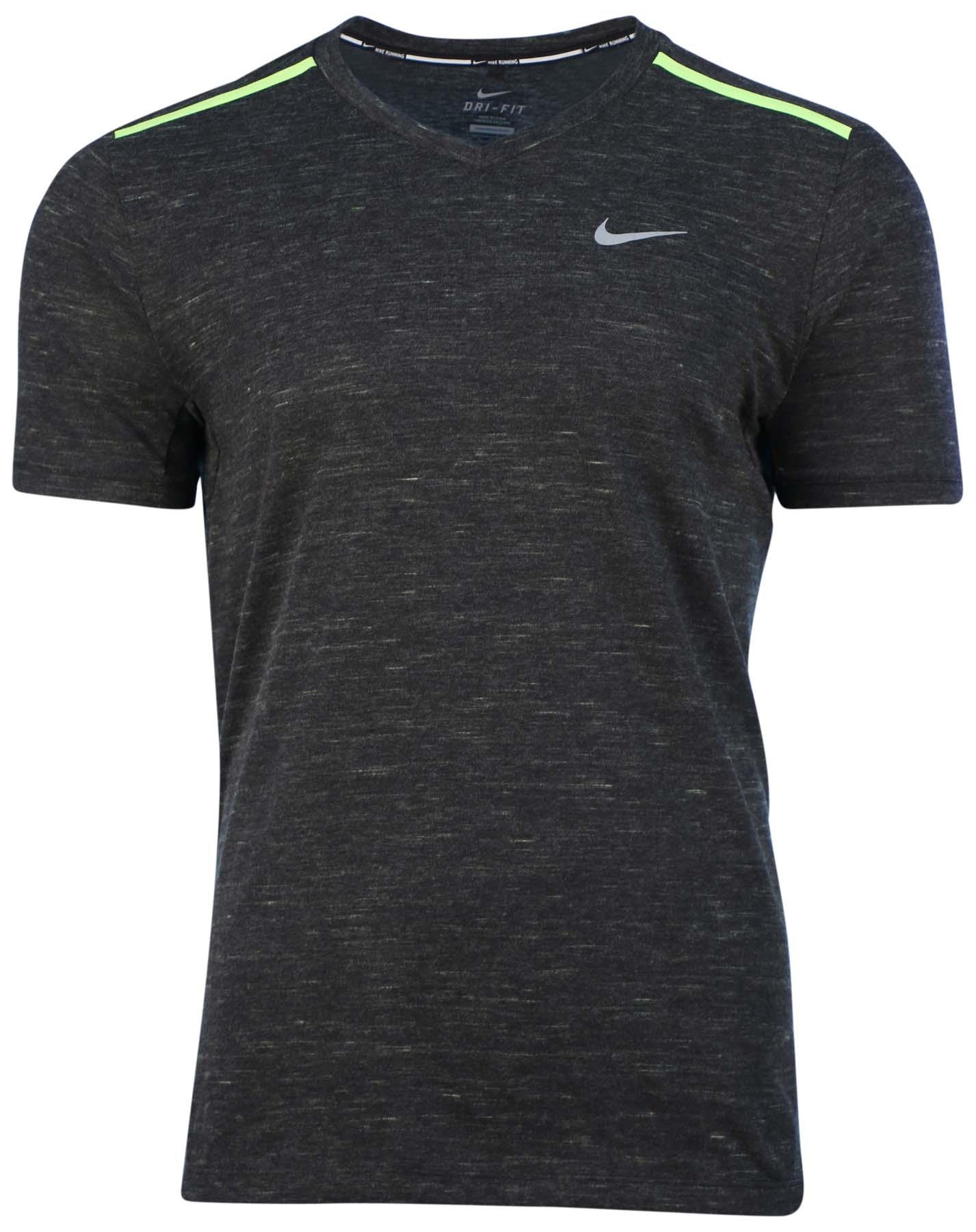 Nike Men 39 S Dri Fit Neon V Neck Running T Shirt Ebay