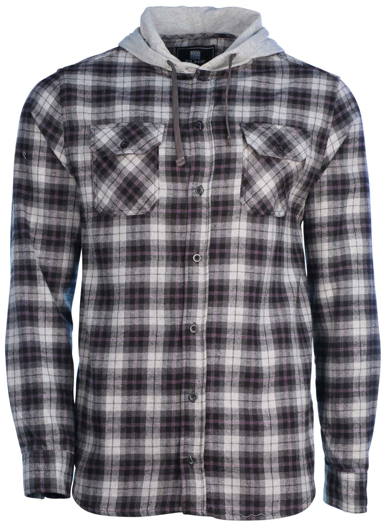 Elixir elxr men 39 s plaid 2 pocket hooded flannel shirt ebay for 9 oz flannel shirt