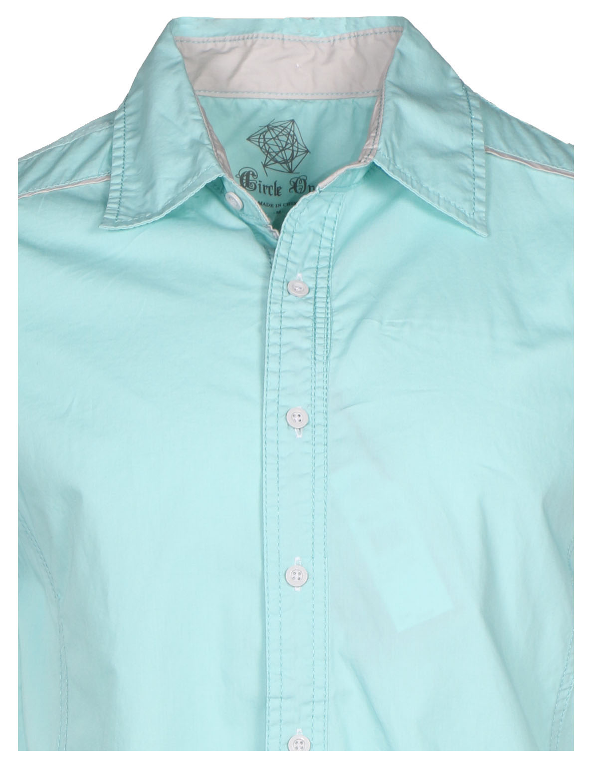 Circle one men 39 s short sleeve casual button down shirt for Polo shirts without buttons