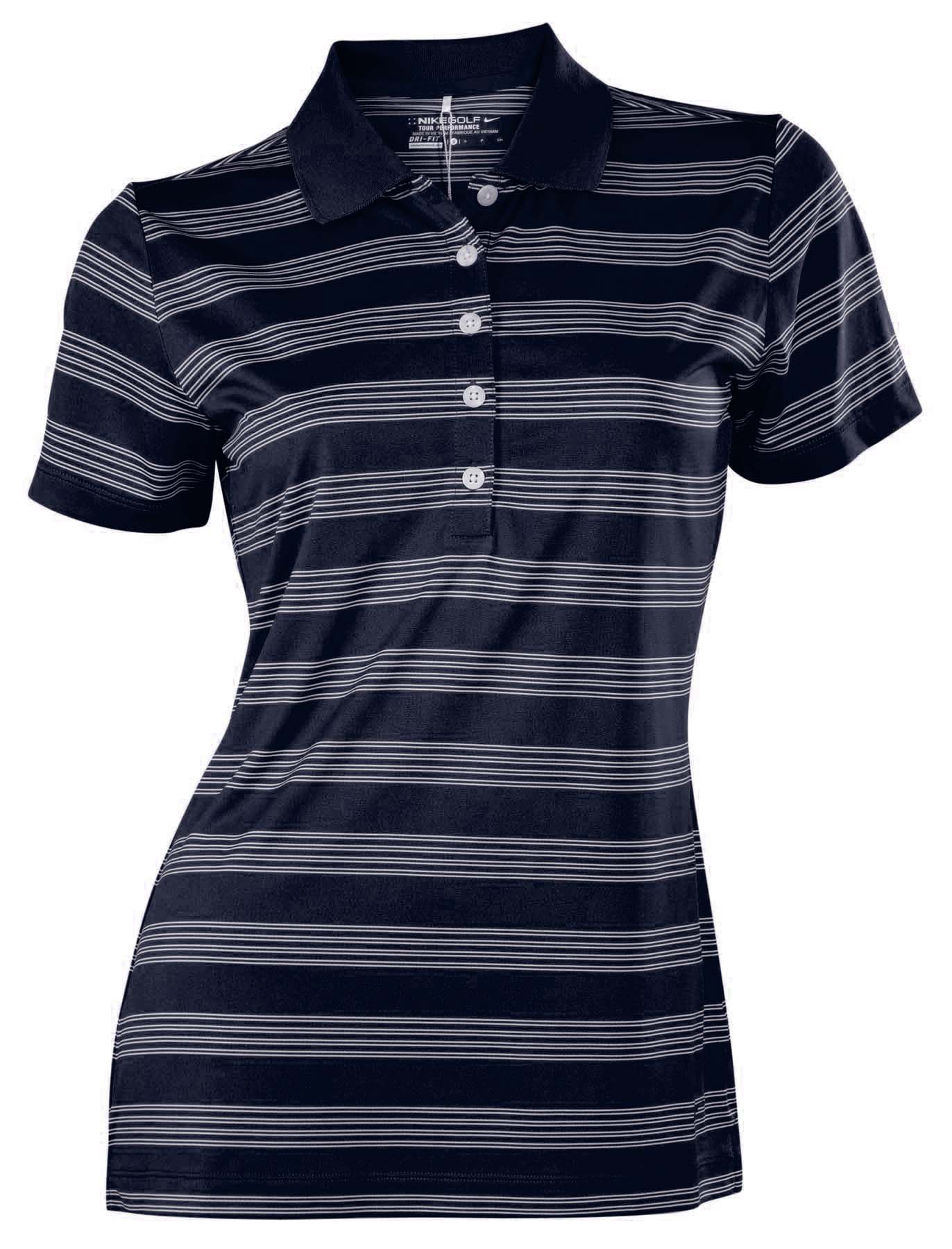Nike women 39 s dri fit tech striped golf polo shirt ebay for Women s dri fit golf shirts