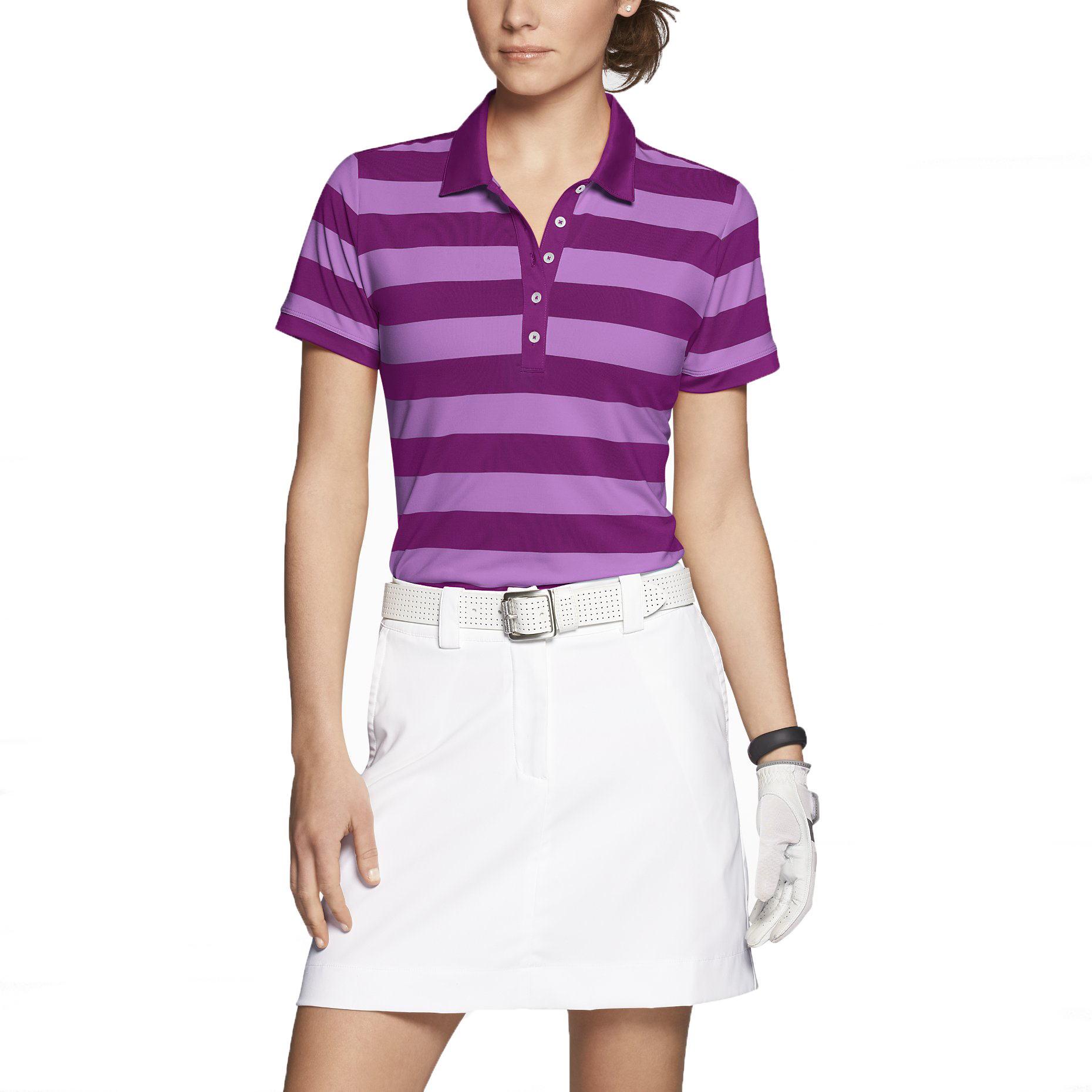 Nike women 39 s dri fit bold stripe golf polo shirt ebay for Women s dri fit golf shirts