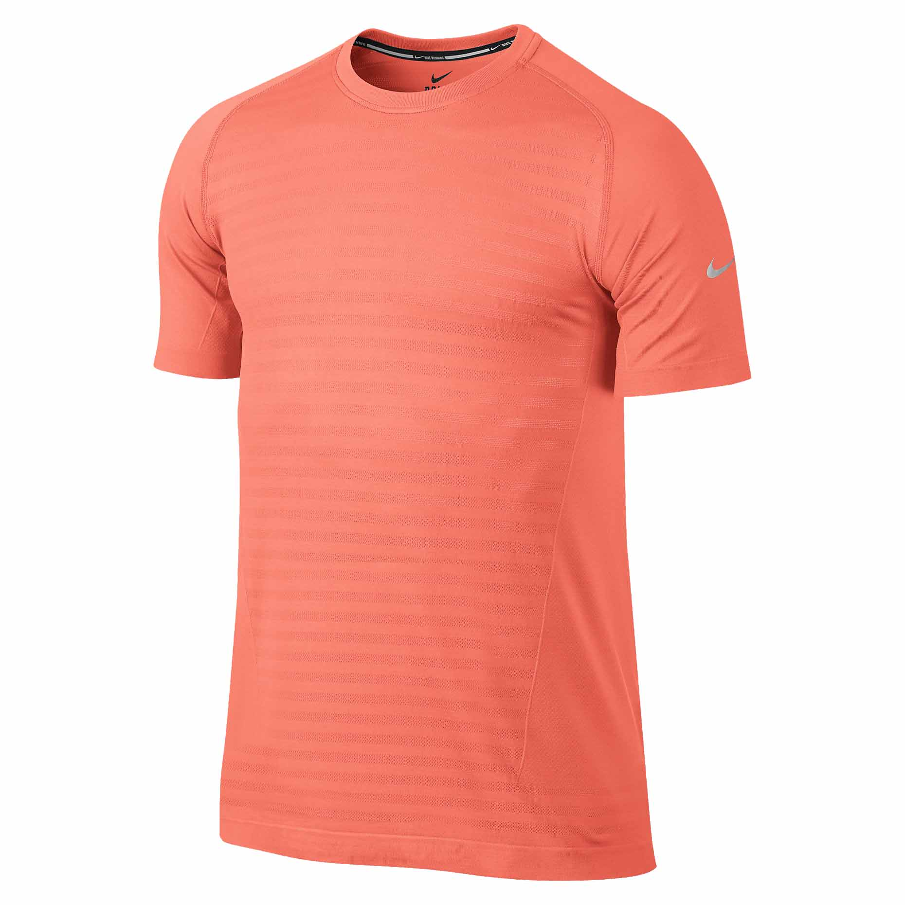 Nike men 39 s dri fit knit novelty crew running shirt bright for Running dri fit shirts