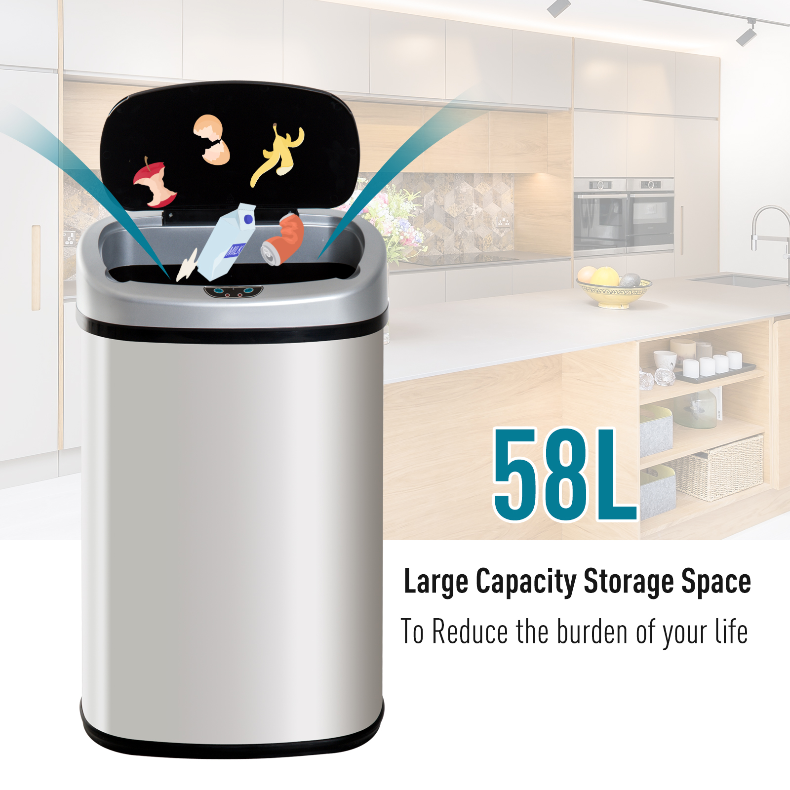 48/58L Dustbin For Home Kitchen Touch Free Trash Can  Infrared Sensor Automatic