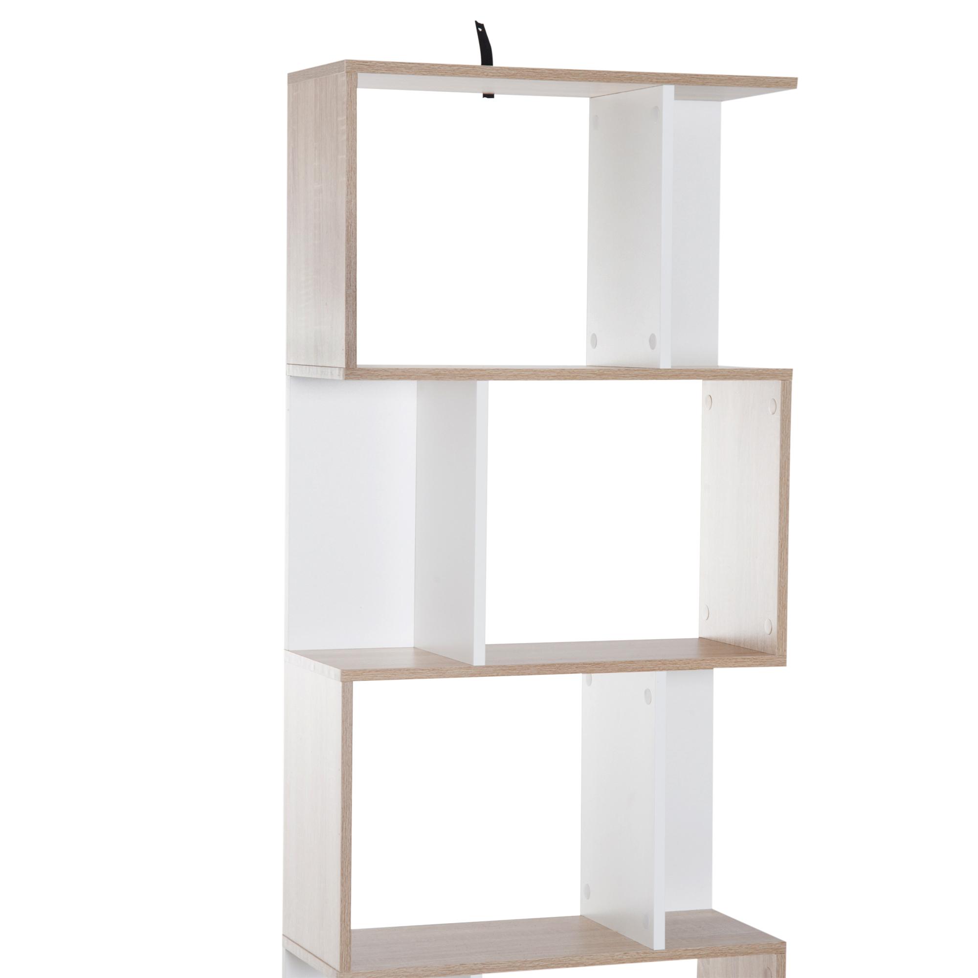 5-tier Bookcase Storage Display Shelving S Shape design Unit Divider Particle