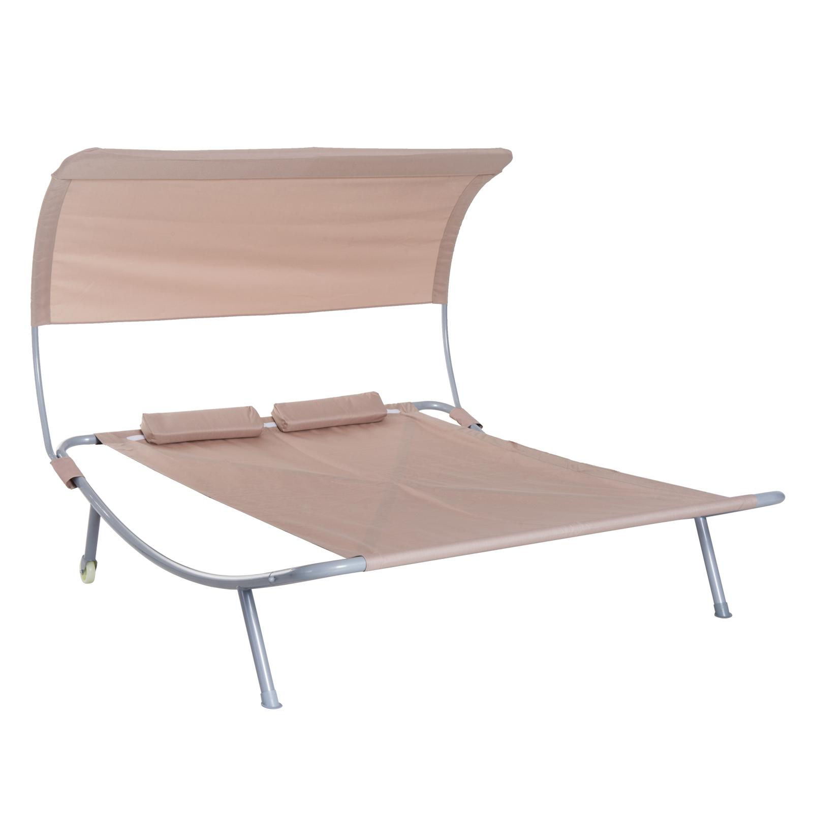 Outsunny Doppelliege Sonnenliege Relaxliege mit Dach rollbar Stahl 3 Farben