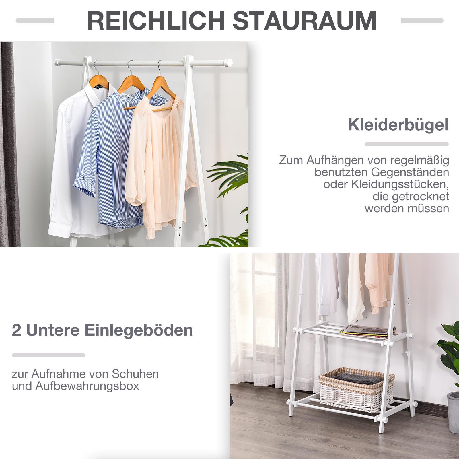 HOMCOM Kleiderständer mit Schuhablage Kleiderstange Garderobenständer Stahl