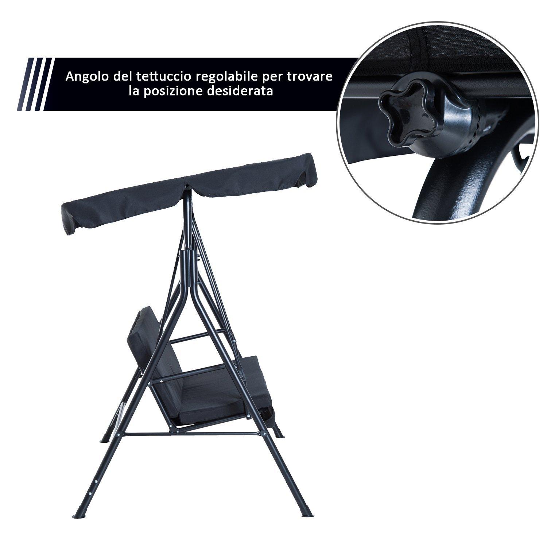 Outsunny  Dondolo da Giardino con Tettuccio Parasole Inclinabile 172×110×152cm