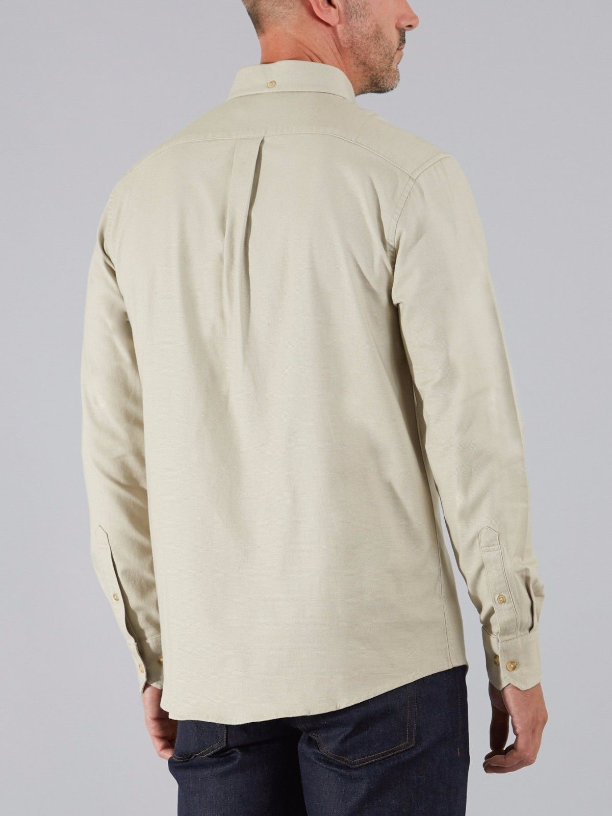 Farah Thompson warm ecru Oxford long-sleeve button-down shirt size small-2XL