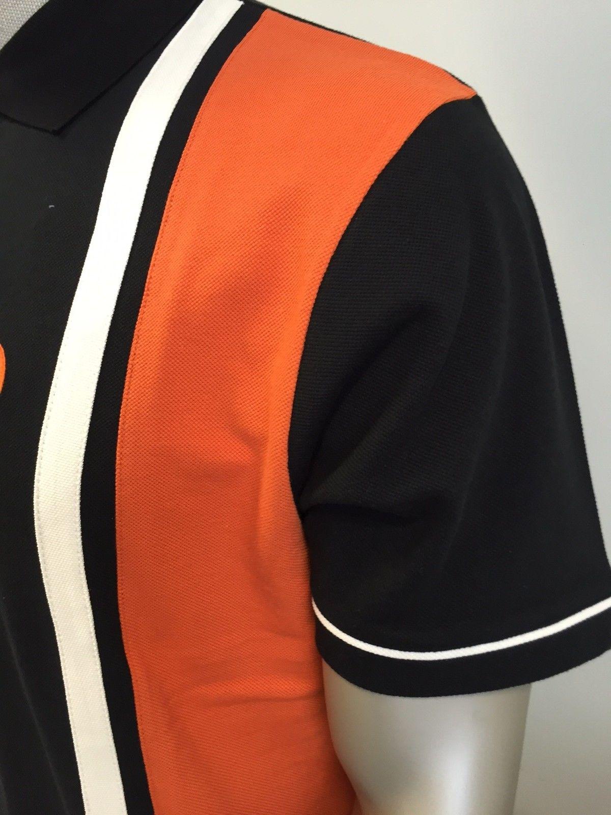 3xl TROJAN tr//8183 nero a strisce con maniche corte ANTERIORE Pique Polo Shirt Taglia Small
