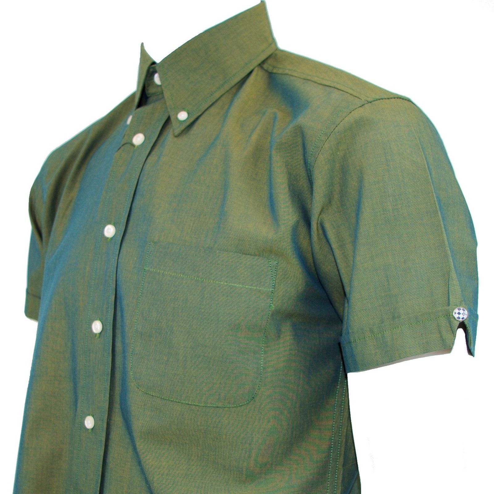 WARRIOR Rico green 2Tone Tonic classic button-down shirt size small-4XL