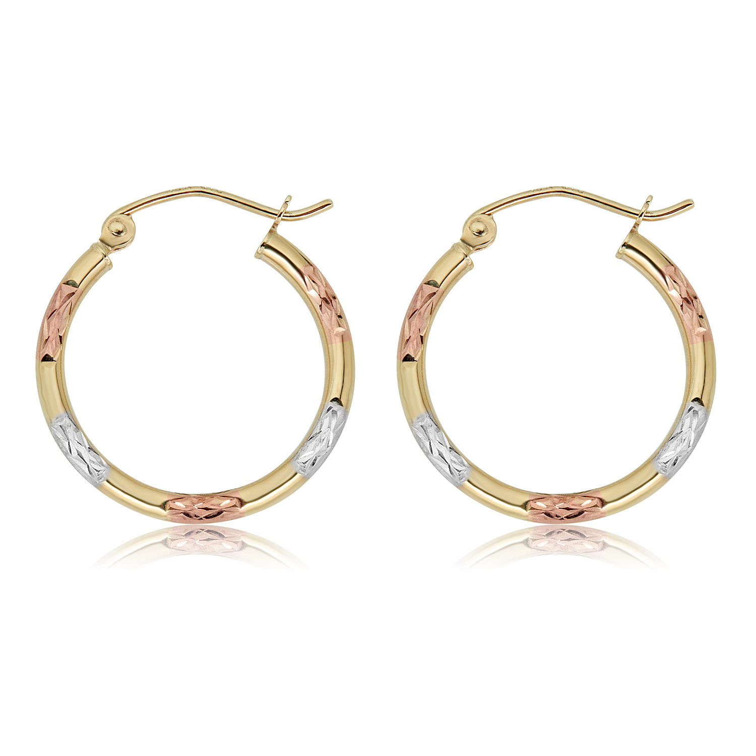 20mm or 25mm Details about  /10K Gold Three-Tone  Hoop Earrings