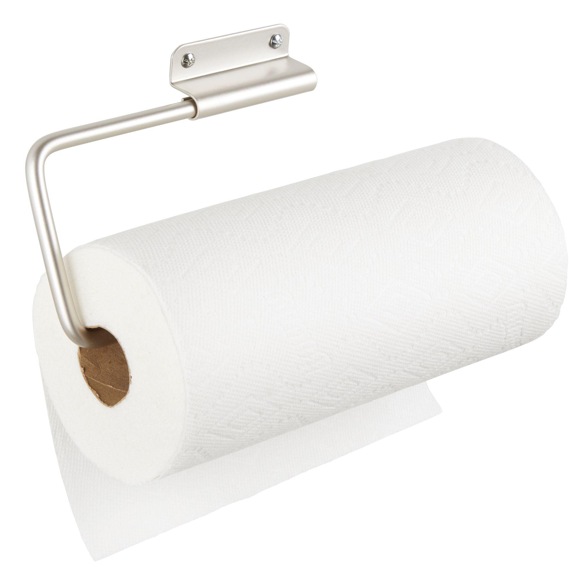 mDesign Metal Wall Mount Under Cabinet Paper Towel Holder