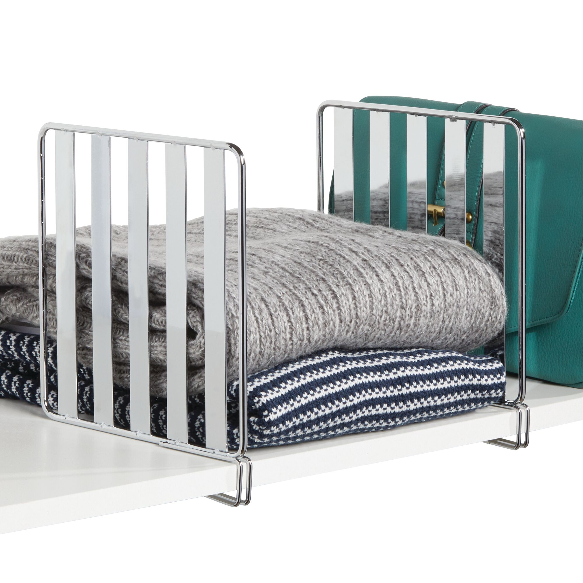 mDesign Versatile Metal Wire Closet Shelf Divider and Separator