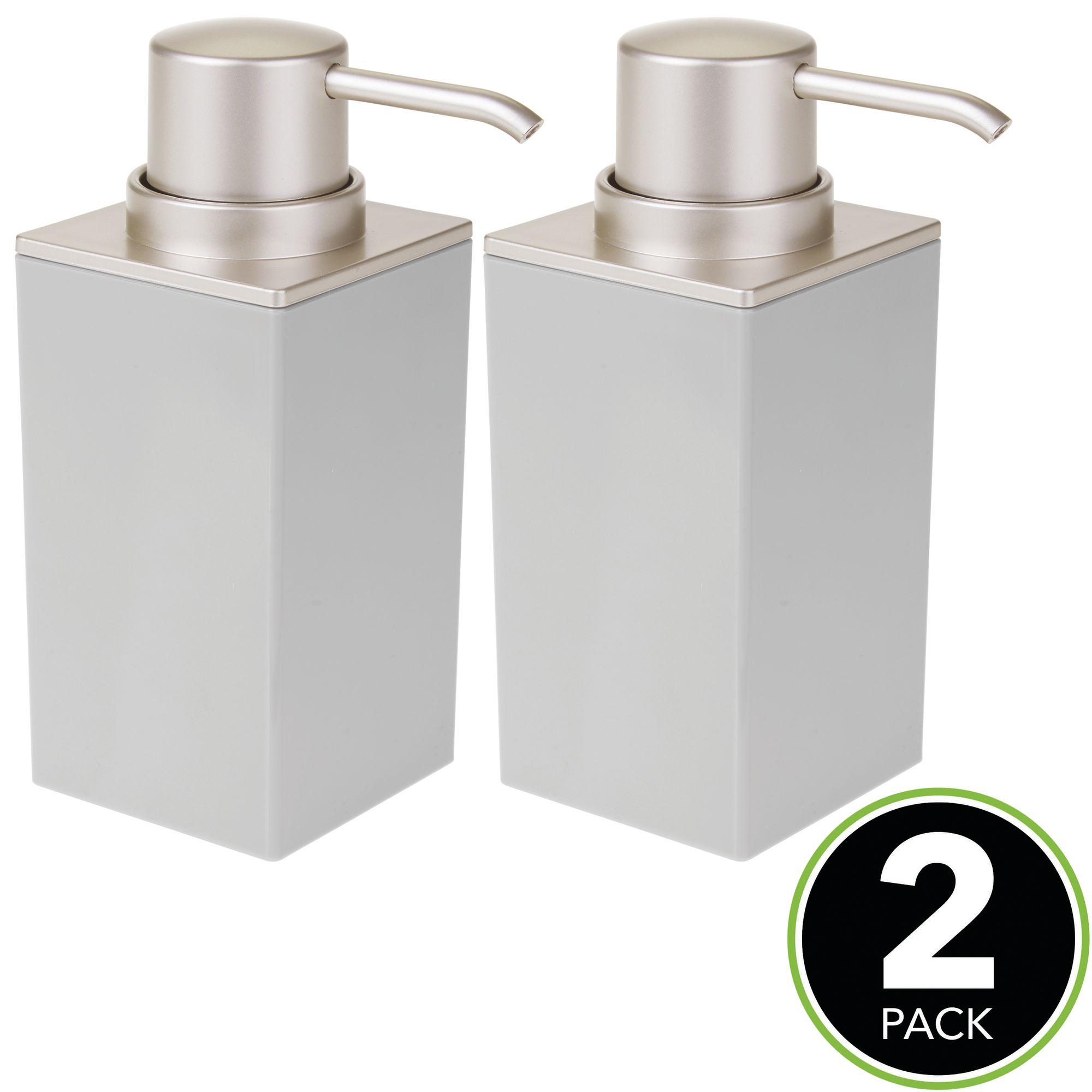 mDesign Square Plastic Refillable Soap Dispenser Pump