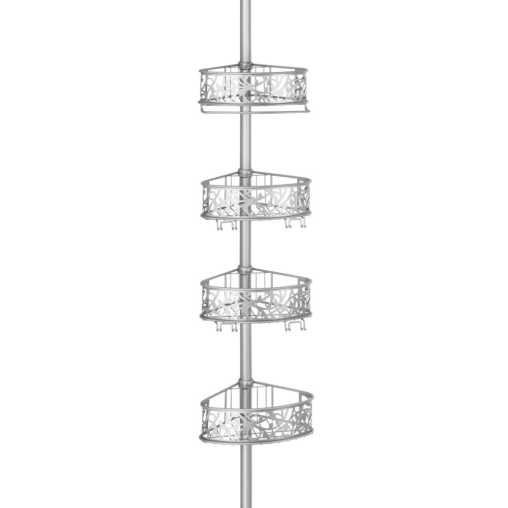 mDesign Shower Pole Caddy Vine Pattern Adjustable Constant Tension