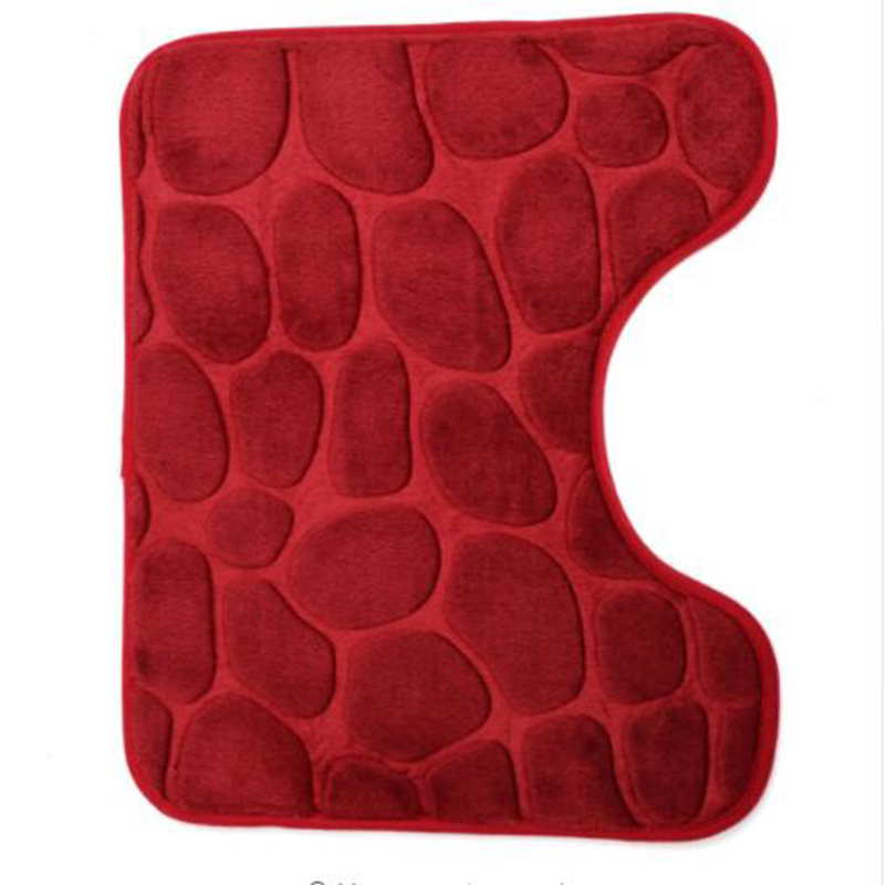 3 Piece Set Non-Slip Floor Mat Bathroom Pedestal Rug+Lid Toilet Cover+Bath Mat