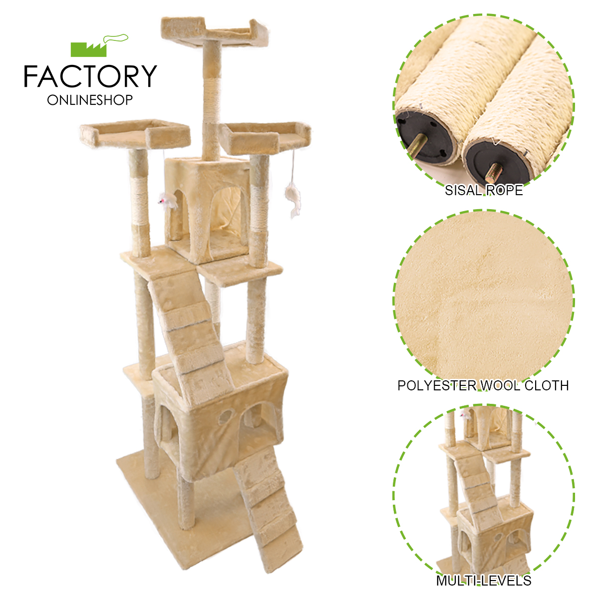 """73"""" Deluxe Cat Tree Tower Condo Furniture Scratch Post Pet Kitty Playhouse"""