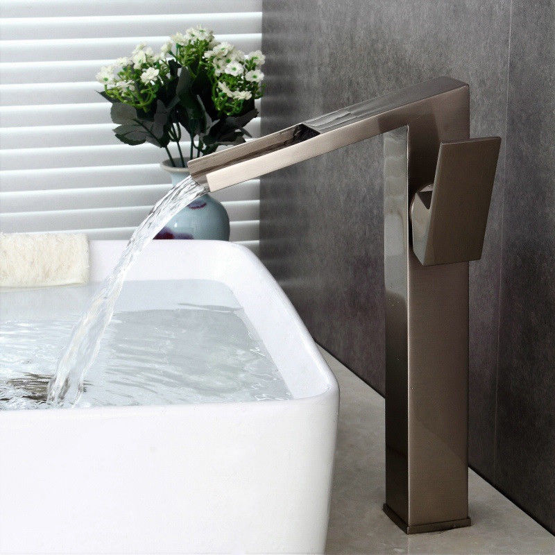 Waterfall Vessel Sink Faucet 1 Hole Tall Slanted Spout Basin Tap for Countertop