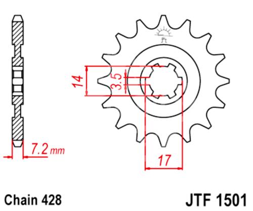 428 JT Sprockets and Drive Chain Kit for Kawasaki KLX 140L 2008-2018