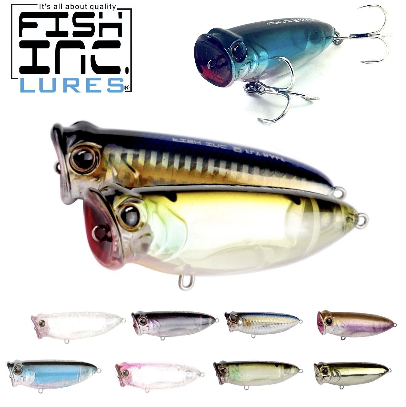 Fish Inc Topwater Long Cast Floating Popper Lure Fly Half 80Mm//16G
