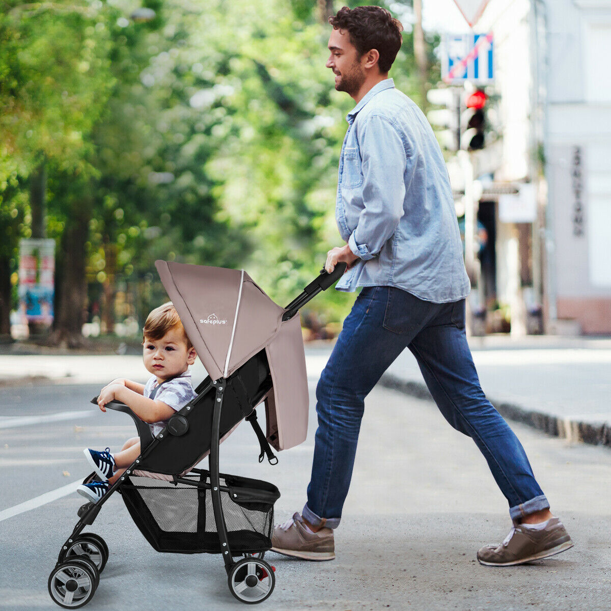 Foldable Lightweight Baby Stroller Kids Travel Pushchair 5-Point Safety System