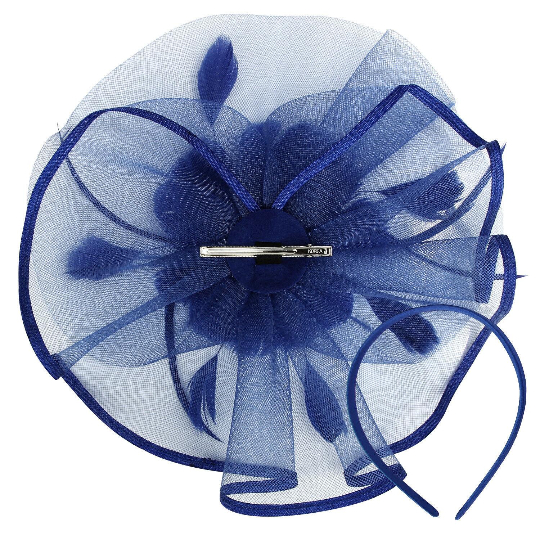 Elegante Fiore Piuma Cerchietto Fascinator con Cappello Matrimonio Donna Headwear