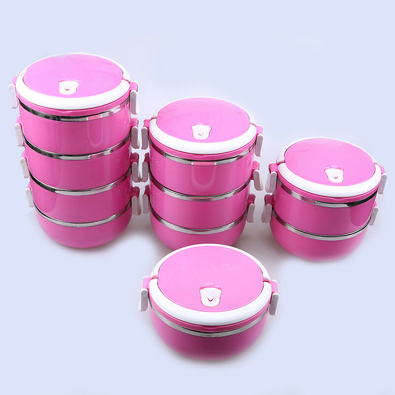 1-4 Layers Roseo Stainless Lunchbox Thermal Bento Box Meal Food Soup Container