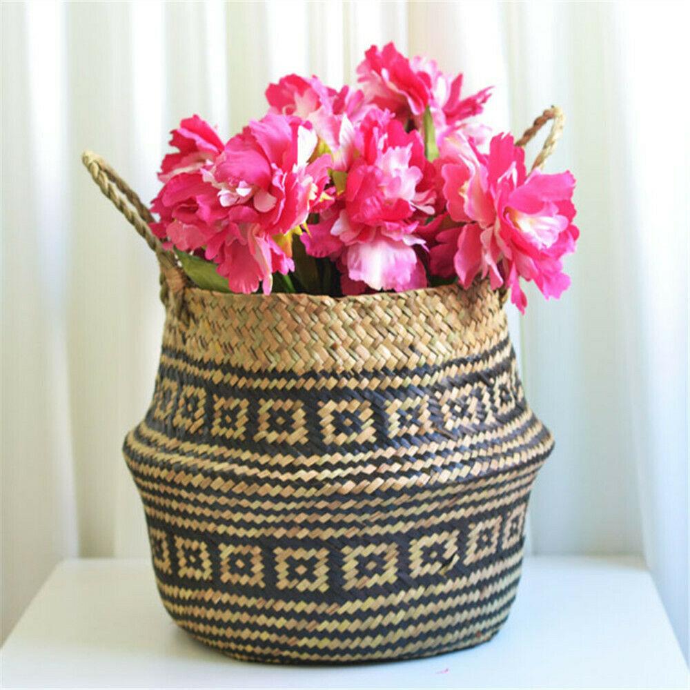 Cesta de almacenamiento Seagrass Flor Decorativa Decoración Hogar Jardín Maceta titular