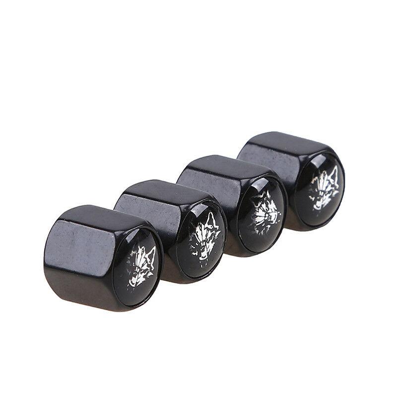4 Pcs Car Tyre Tire Wheel Valve Stem Cap Anti Theft Wolf Logo Wrench Keychain