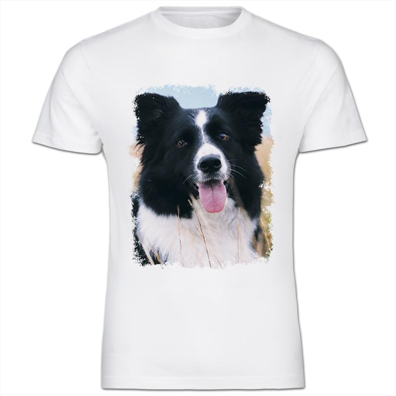Border Collie Dog Sitting In Field Kids Boy Girl T-Shirt