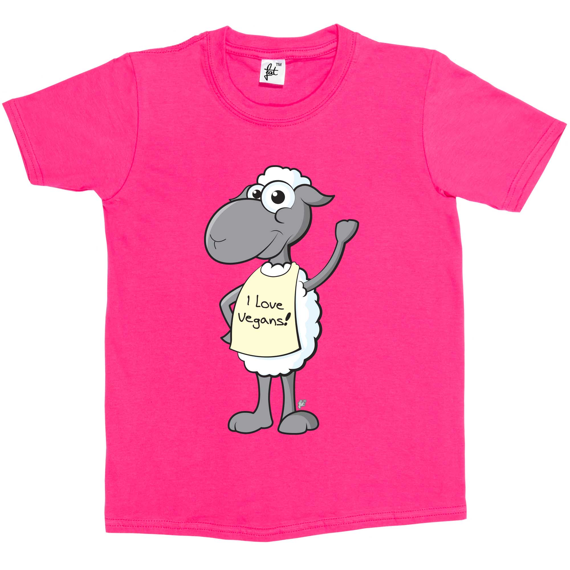 Girls T-Shirt Waving Smiling Sheep Wearing I Love Vegans Sign Kids Boys