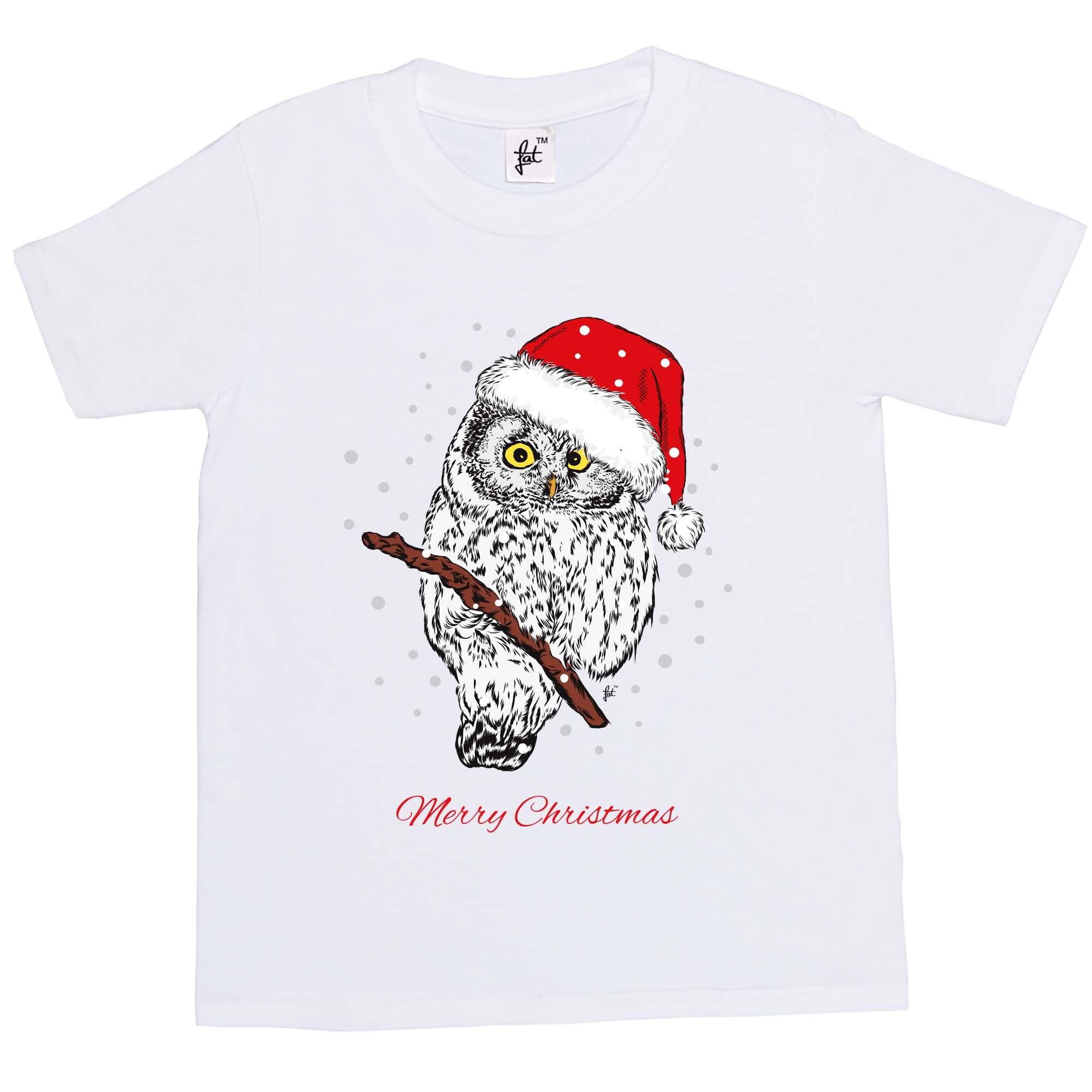Girls T-Shirt Christmas Owl Wearing Santa Hat Sat In Tree Snowing Kids Boys